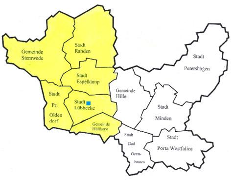 Lage der Schule im Altkreis Lübbecke